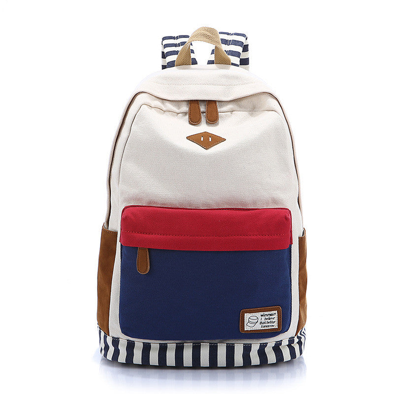 Contrast Color Women's Casual Canvas Backpack Bag - Oh Yours Fashion - 1