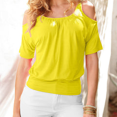Casual Dew Shoulder Short Sleeve Pure Color Blouse - Oh Yours Fashion - 5