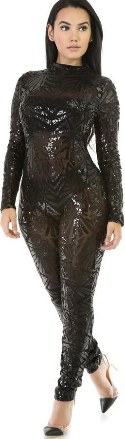 Sequins Long Sleeve High Neck See-Through Club Long Jumpsuit - Oh Yours Fashion - 1