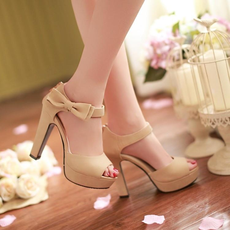 Sweet Candy Color Bow Knot Thick Heel Platform Sandals - MeetYoursFashion - 6
