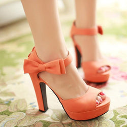 Sweet Candy Color Bow Knot Thick Heel Platform Sandals - MeetYoursFashion - 1