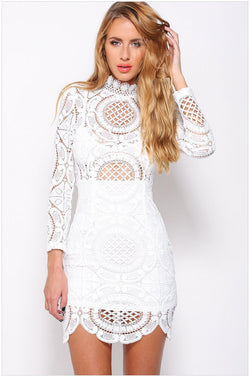 Hollow Out Lace High Neck Long Sleeve Lining Short Dress - Oh Yours Fashion - 3