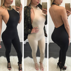 Halter Sleeveless Backless Pure Color Long Jumpsuit - Oh Yours Fashion - 1