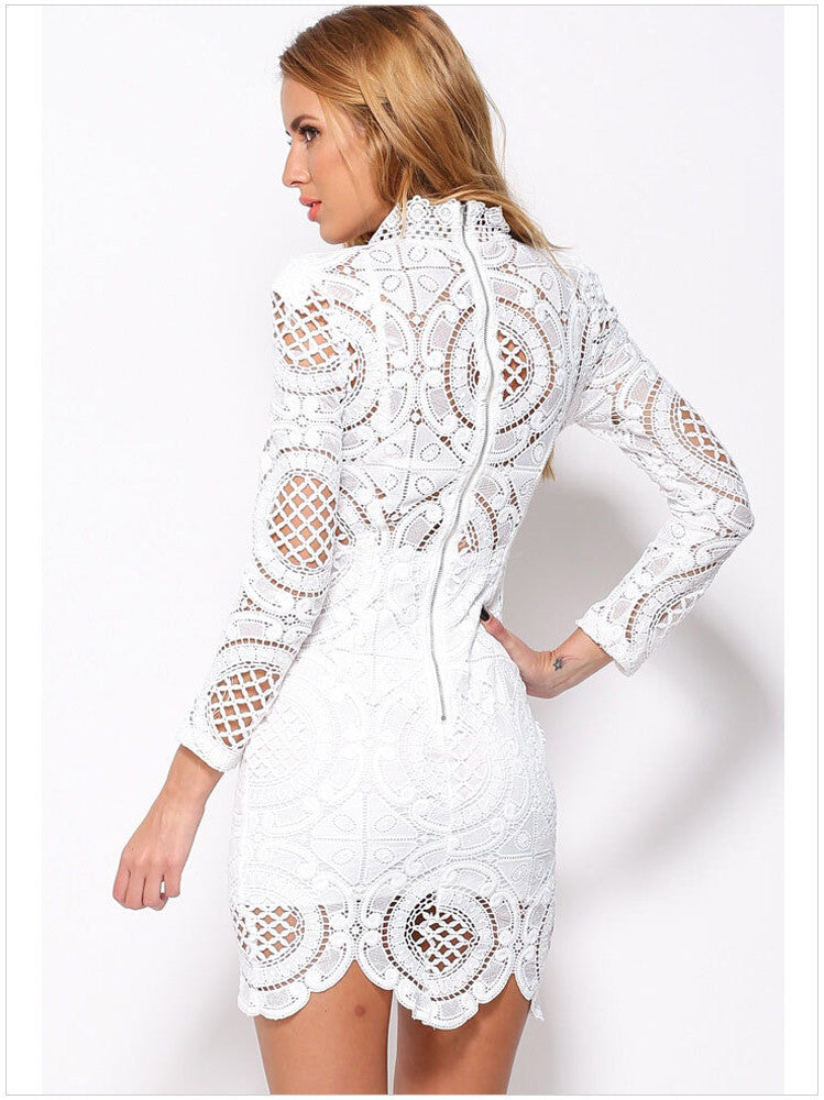 Hollow Out Lace High Neck Long Sleeve Lining Short Dress - Oh Yours Fashion - 7
