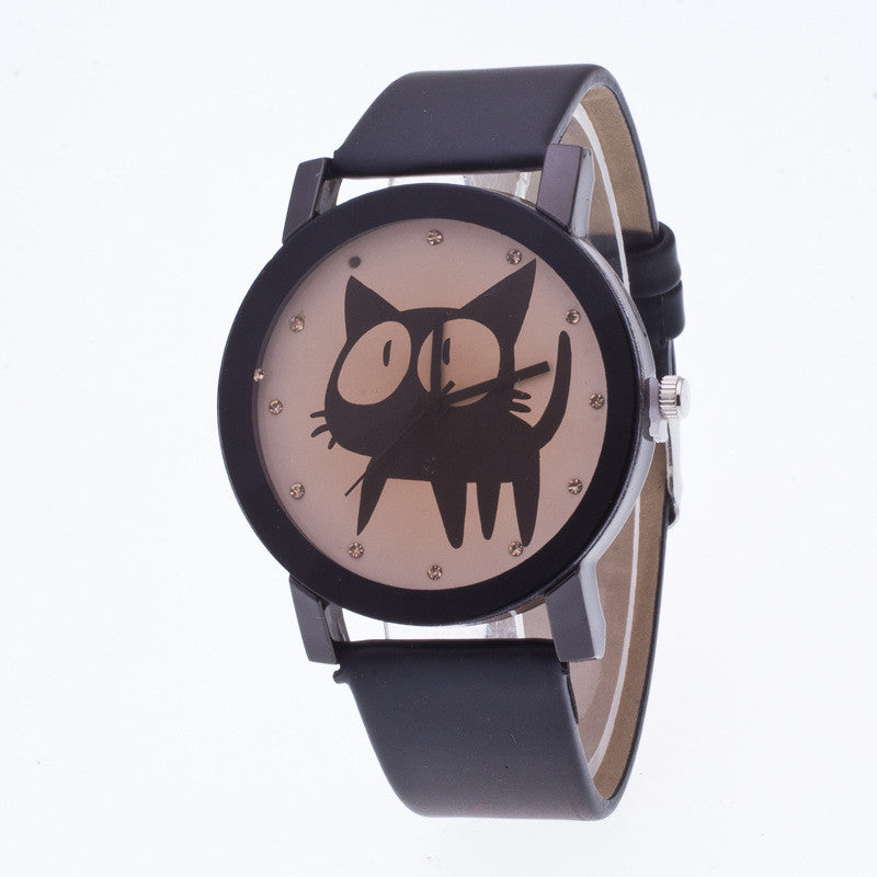 Sweet Cat Pattern Leather Watch - Oh Yours Fashion - 3