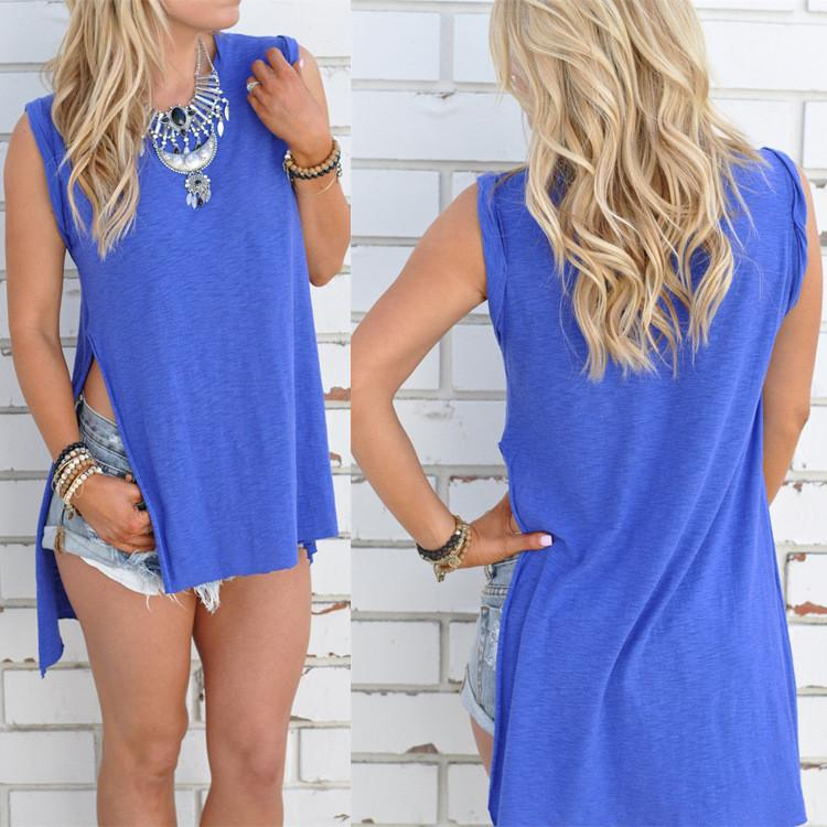 Scoop Sleeveless Split Irregular Pure Color Blouse - Meet Yours Fashion - 2