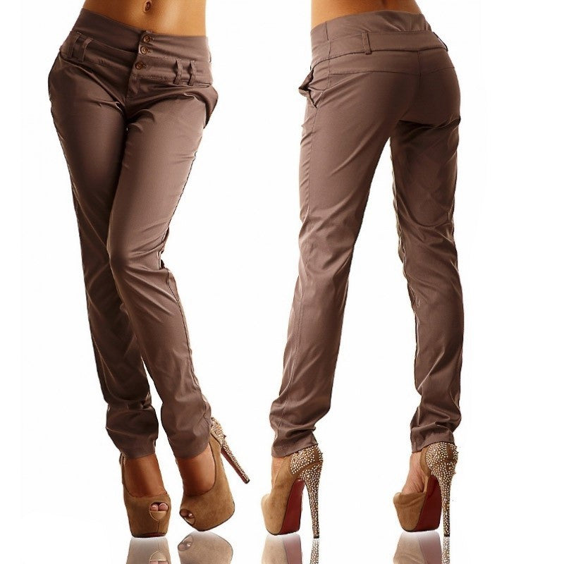 Casual Straight Pure Color Button Women Pants - Oh Yours Fashion - 4