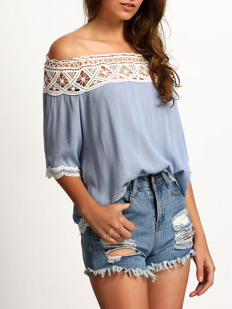 Strapless Lace Patchwork 1/2 Sleeves Off-shoulder Chiffon Blouse - Oh Yours Fashion - 2