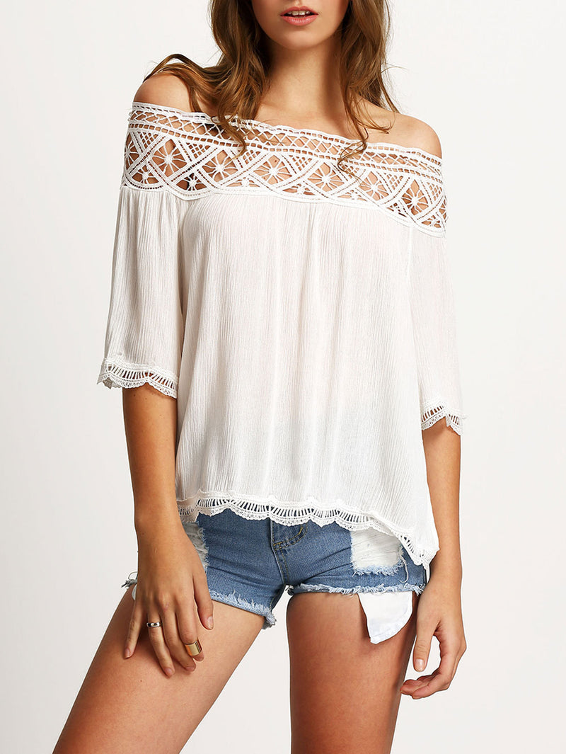 Strapless Lace Patchwork 1/2 Sleeves Off-shoulder Chiffon Blouse - Oh Yours Fashion - 3
