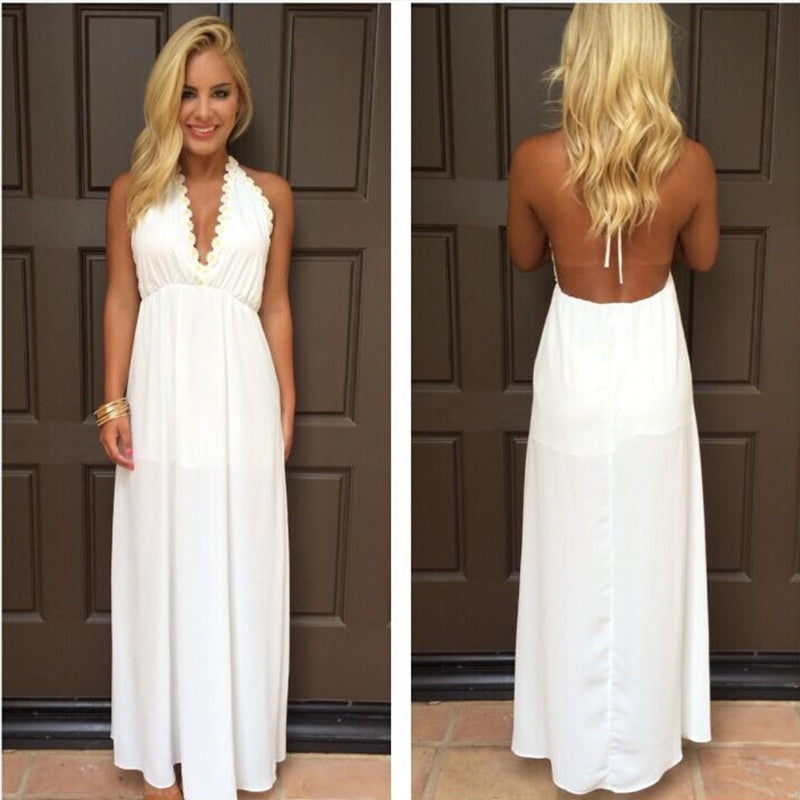 Backless V-neck White Long Chiffon Party Dress - Oh Yours Fashion - 1