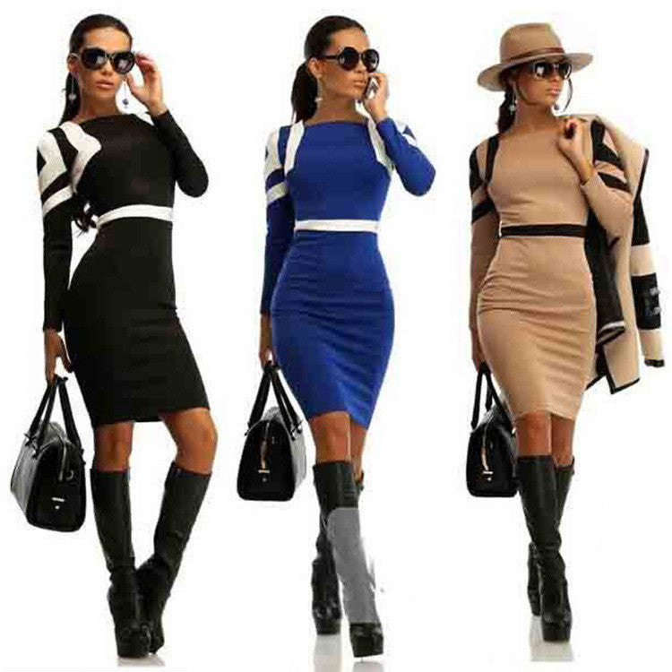 0c3643b33a5e Square Neck Long Sleeves Patchwork Knee-length Bodycon Dress - Oh Yours  Fashion - 1