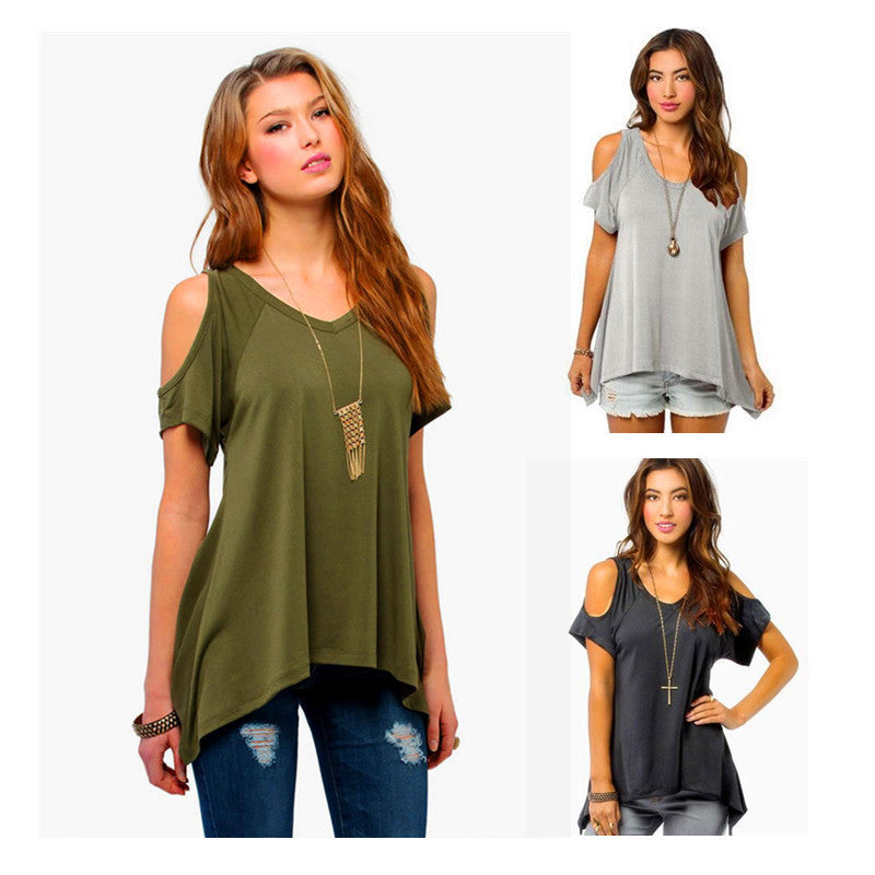 Dew Shoulder Irregular Loose Blouses - Oh Yours Fashion - 1