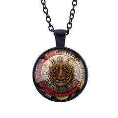 Gear Dial Pattern Time Gem Pendant Necklace - Oh Yours Fashion - 4