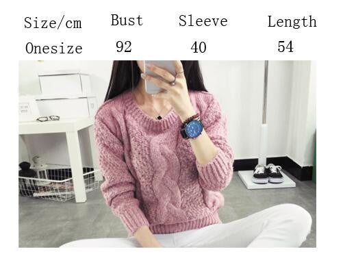 Pull over Loose Pure Color Long Sleeve Sweater - Oh Yours Fashion - 5