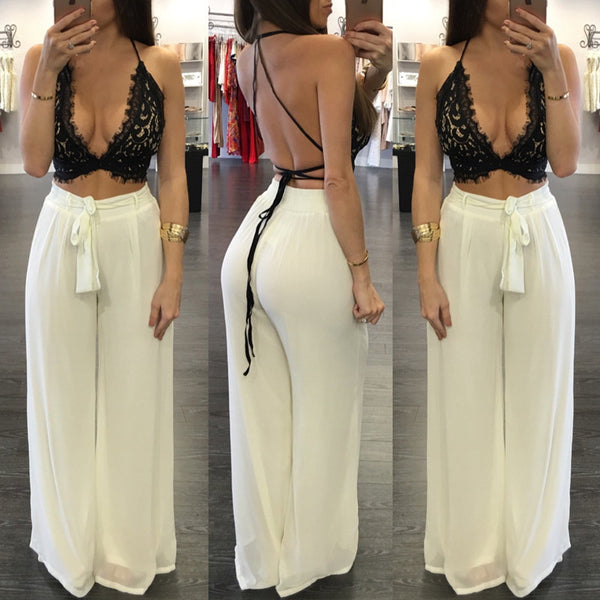 Deep V Neck Strap Lace Hollow Out Top Wide Legs Pants Suit