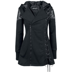 Lace-Up Vampire Womens Hooded Coat - Oh Yours Fashion - 1