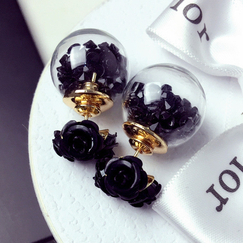 Rose Glass Crystal Ball Earring - Oh Yours Fashion - 2