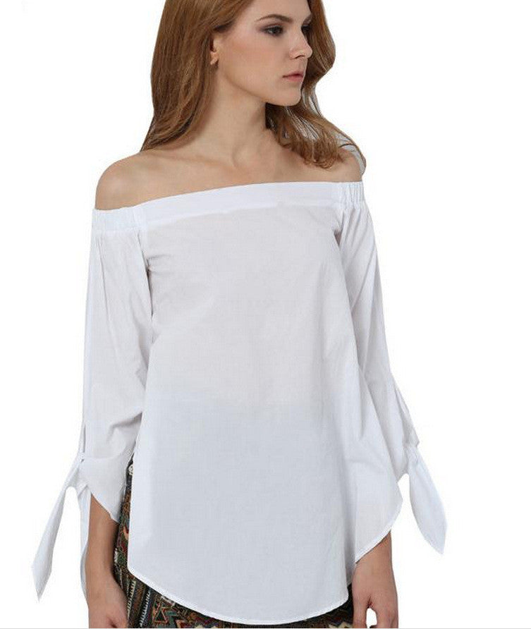 Plus Size Off Shoulder Loose Blouse - Oh Yours Fashion - 4