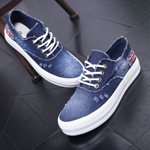 Washed Denim Sponge Lazy Single Casual Sneakers
