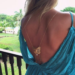 Sexy Back Butterfly Pearl Tassel Droplets BodyChain - Oh Yours Fashion - 1