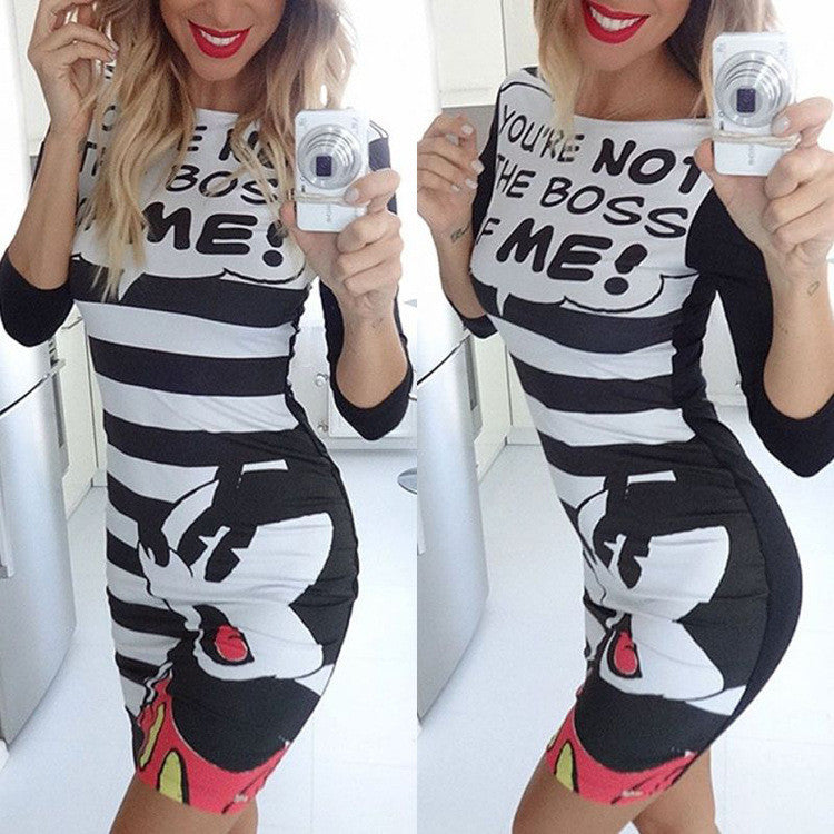 Cartoon And  Character Print Striped Short Dress - Oh Yours Fashion - 1
