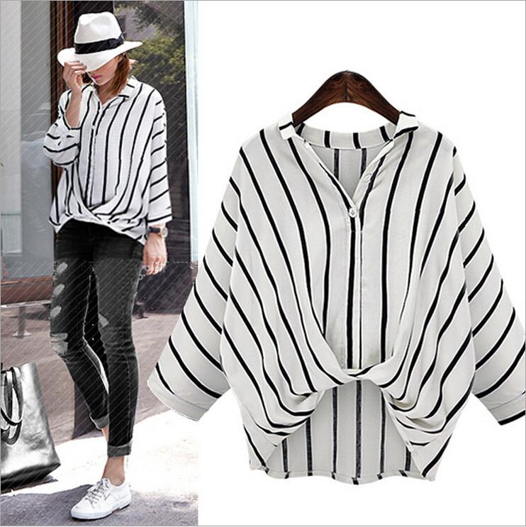 Striped V-neck Plus Size Irregular Short Sleeves Blouse - Meet Yours Fashion - 3