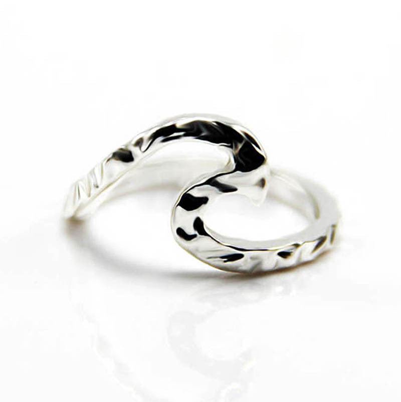 Alloy silver plated simple wave ring - Oh Yours Fashion - 1