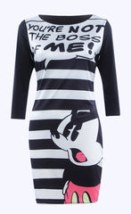 Cartoon And  Character Print Striped Short Dress - Oh Yours Fashion - 4
