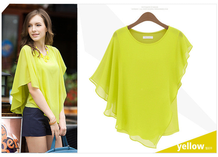 Irregular Scoop Sexy Falbala Chiffon Batwing Blouse - Oh Yours Fashion - 5