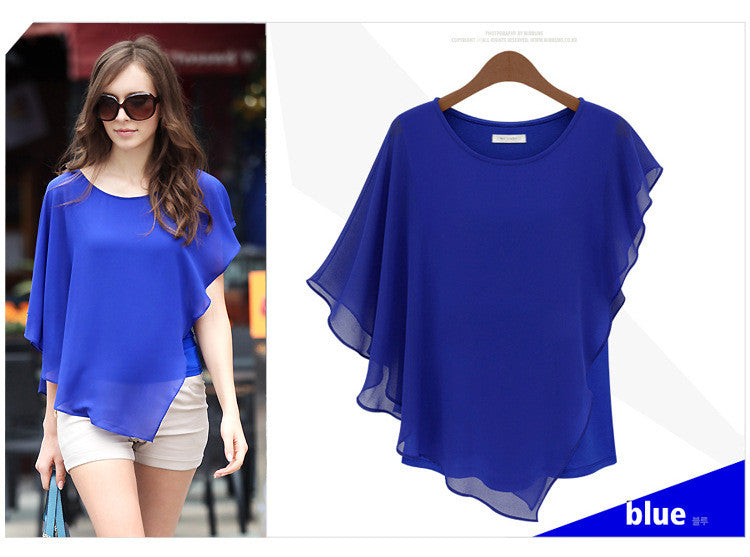 Irregular Scoop Sexy Falbala Chiffon Batwing Blouse - Oh Yours Fashion - 7