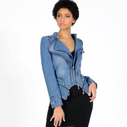 Rivet Studded Denim Moto Jacket