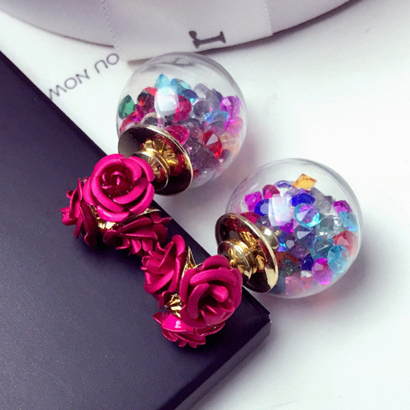 Rose Glass Crystal Ball Earring - Oh Yours Fashion - 5
