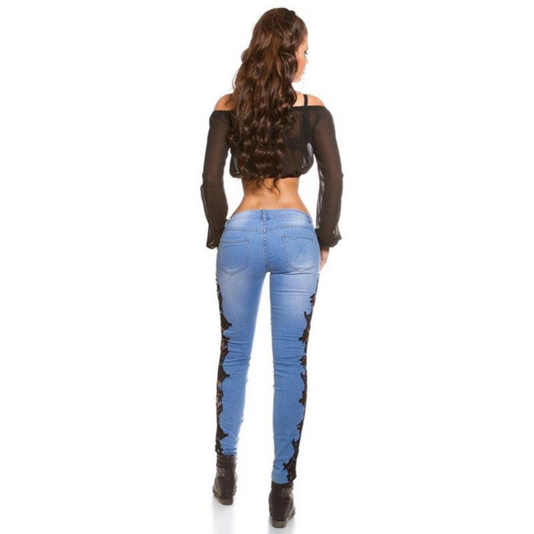 Lace Patchwork Bodycon Slim Low Waist Straight Jeans - Oh Yours Fashion - 4