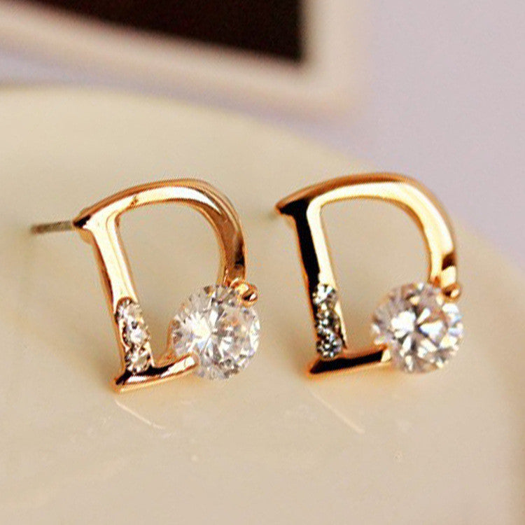 Crystal Letter D Golden Earrings - Oh Yours Fashion - 5