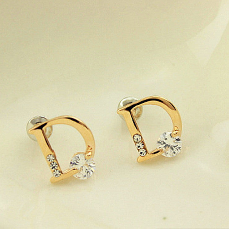 Crystal Letter D Golden Earrings - Oh Yours Fashion - 1