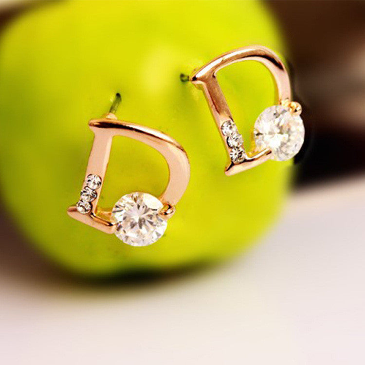 Crystal Letter D Golden Earrings - Oh Yours Fashion - 2