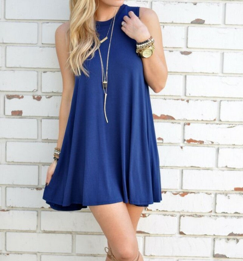 Pure Color O-neck Sleeveless Loose Short Dress - Oh Yours Fashion - 3