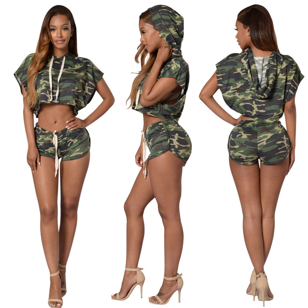 1d5645f5e94 Bat-wing Sleeves Crop Top Mini Shorts Camouflage Two Pieces Set - Oh Yours  Fashion
