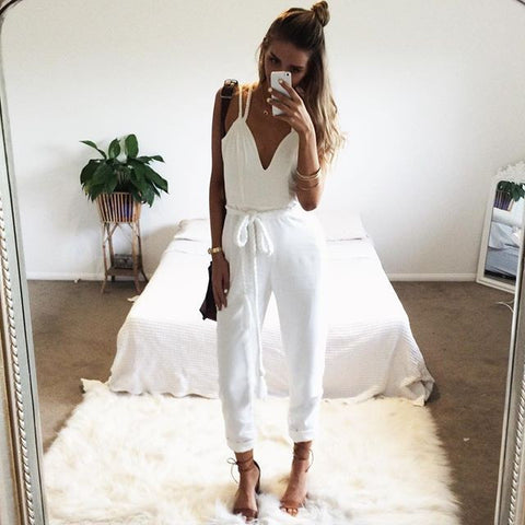 Spaghetti Strap V-neck Sleeveless Belt Long Jumpsuits