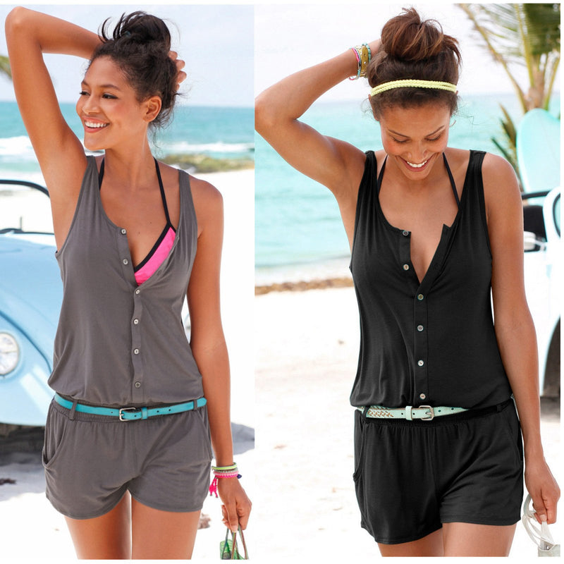 Pure Color Sleeveless Scoop Short Beach Jumpsuit