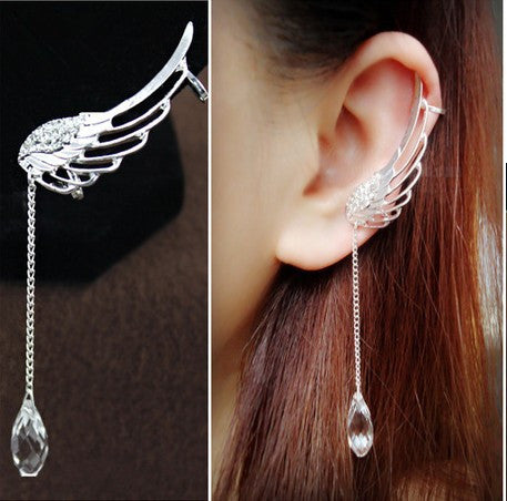 Fashion Long Crystal Wings Tassel Single Earrings - Oh Yours Fashion - 1