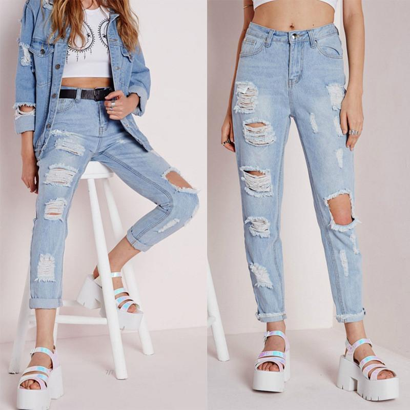 Sexy Cut Out Straight Beggar Jeans - Meet Yours Fashion - 1