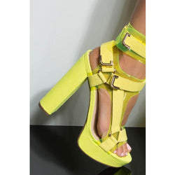 Bright Color Buckle Platform Chunky Heel Sandals