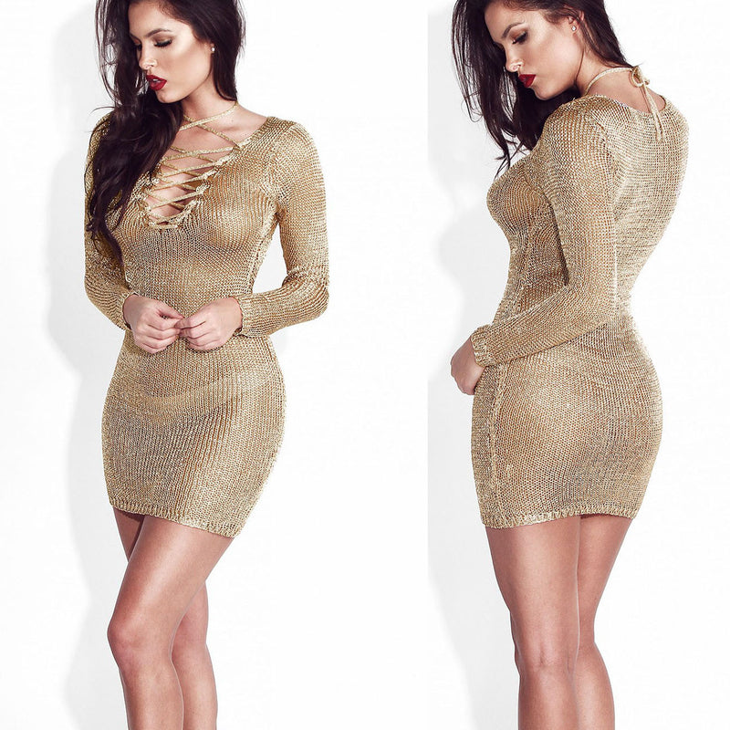 Sexy  Pure Color Beach Bodycon Dress