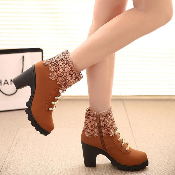 Lace Tassels Diamond Short Martin Boots