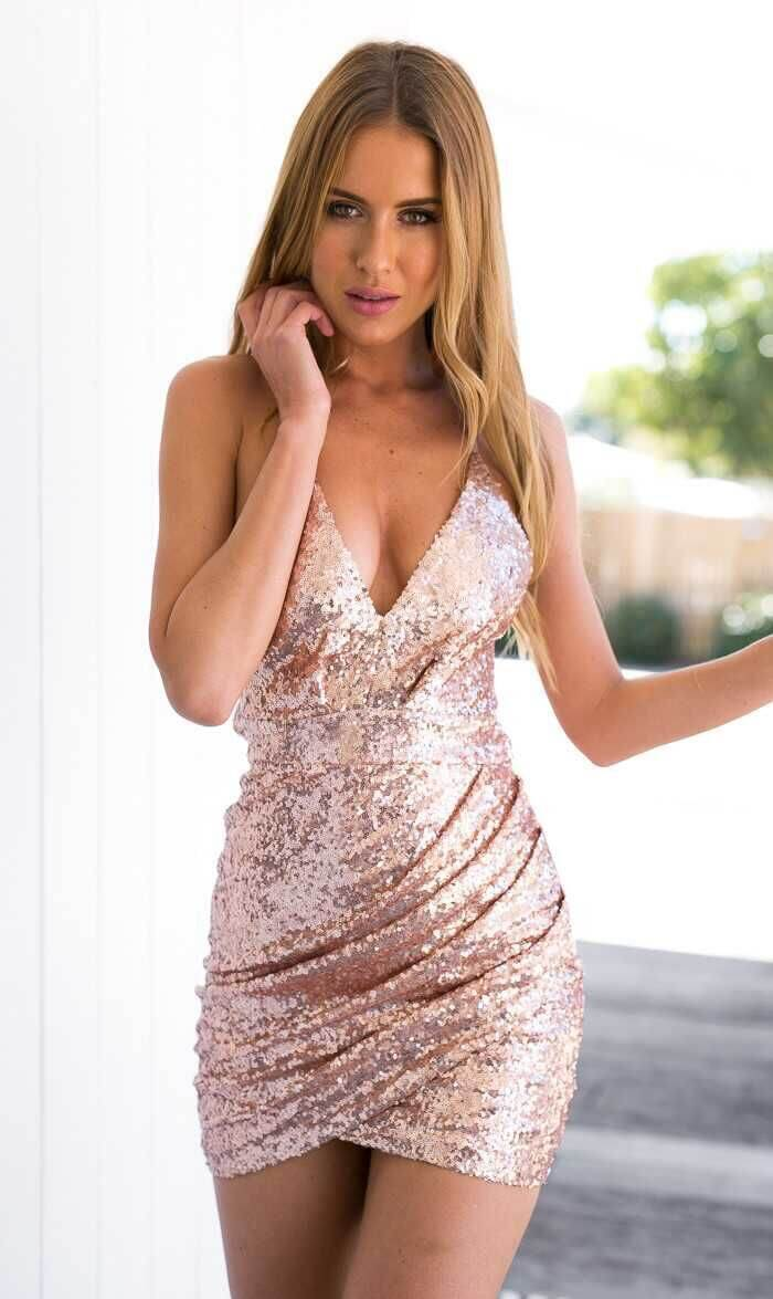 Spaghetti Strap V-neck Backless Sequins Sheth Short Dress