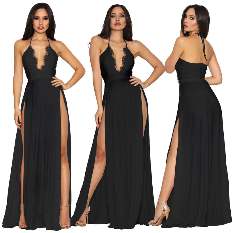 Spaghetti Straps Backless Chiffon Lace Patchwrok Split Long Dress