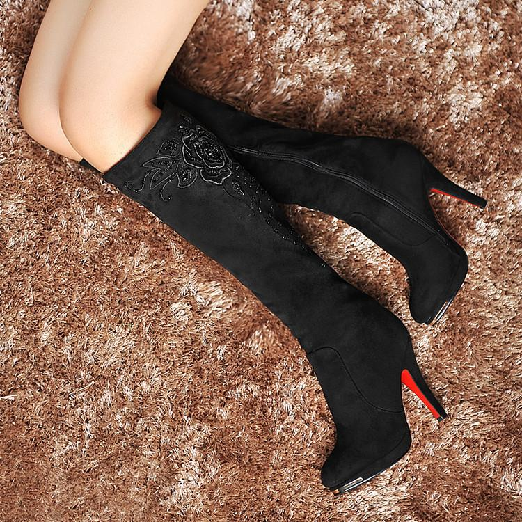 Water Drill Beaded Embroidered High Heel Boots