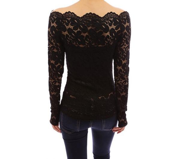 Fashion Hook Flower Hollow Out Lace Off Shoulder Blouse