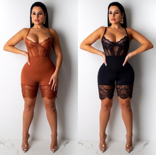 Suspender lace stitching Jumpsuit